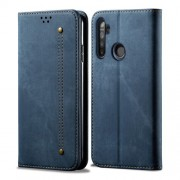 Retro Style Jeans Cloth Leather Wallet Case for OPPO Realme 5s/5 - Blue