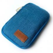 Υφασμάτινη Θήκη με Φερμουάρ για Καλώδια, Ακουστικά και Power Bank Διαστάσεις 17 x 11 x 2cm - Μπλε