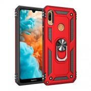 Υβριδική Θήκη Σιλικόνης και Πλαστικού με Δαχτυλίδι που Κάνει Βάση Στήριξης για Huawei Honor 8A / Y6 (2019, with Fingerprint Sensor) / Y6 Prime (2019) - Κόκκινο