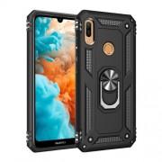Υβριδική Θήκη Σιλικόνης και Πλαστικού με Δαχτυλίδι που Κάνει Βάση Στήριξης για Huawei Honor 8A / Y6 (2019, with Fingerprint Sensor) / Y6 Prime (2019) - Μαύρο