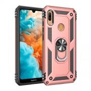 Υβριδική Θήκη Σιλικόνης και Πλαστικού με Δαχτυλίδι που Κάνει Βάση Στήριξης για Huawei Honor 8A / Y6 (2019, with Fingerprint Sensor) / Y6 Prime (2019) - Ροζέ Χρυσαφί