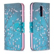 Pattern Printing Phone Leather Wallet Case for LG K40 / K12 Plus - Tree with Flowers