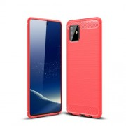 Carbon Fiber Texture Brushed TPU Cell Phone Cover for Samsung Galaxy A81/Note 10 Lite - Red