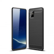 Carbon Fiber Texture Brushed TPU Cell Phone Cover for Samsung Galaxy A81/Note 10 Lite - Black