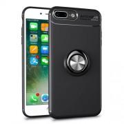 Υβριδική Θήκη Σιλικόνης TPU με Μεταλλικό Μαγνητικό Δαχτυλίδι που κάνει Βάση Στήριξης για iPhone 8 Plus / 7 Plus - Μαύρο / Γκρι