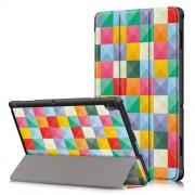 Δερμάτινη Θήκη Βιβλίο Tri-Fold με Βάση Στήριξης για Lenovo Tab E10 TB-X104F - Πολύχρωμα Τετράγωνα