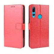 Crazy Horse Leather Wallet Case for Huawei Honor 9X (Global)/ P Smart Z / Y9 Prime 2019 /Enjoy 10 Plus - Red