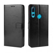 Crazy Horse Leather Wallet Case for Huawei Honor 9X (Global)/ P Smart Z / Y9 Prime 2019 /Enjoy 10 Plus - Black