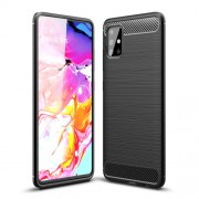 Carbon Fiber Texture Brushed TPU Case Cover for Samsung Galaxy A51 - Black