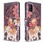 Δερμάτινη Θήκη Πορτοφόλι με Βάση Στήριξης για Samsung Galaxy A51 - Ελέφαντας με Tribal Λουλούδια