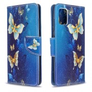 Pattern Printing Wallet Leather Flip Cover Case for Samsung Galaxy A51 - Blue and Gold Butterfly