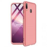 GKK 360 μοιρών Σκληρή Θήκη Ματ με Βελούδινη Υφή Πρόσοψης και Πλάτης για Samsung Galaxy M20 - Ροζέ Χρυσαφί