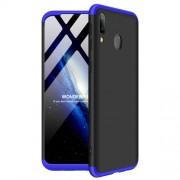 GKK 360 μοιρών Σκληρή Θήκη Ματ με Βελούδινη Υφή Πρόσοψης και Πλάτης για Samsung Galaxy M20 - Μαύρο/Μπλε