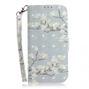 Pattern Printing Light Spot Decor Leather Wallet Case for Xiaomi Redmi Note 7S / Note 7 / Note 7 Pro (India) - White Flowers
