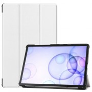 Tri-fold Stand Leather Case Smart Tablet Cover Shell for Samsung Galaxy Tab S6 T860 (Wi-Fi) / T865 (LTE) - White