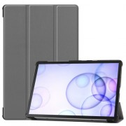Tri-fold Stand Leather Case Smart Tablet Cover Shell for Samsung Galaxy Tab S6 T860 (Wi-Fi) / T865 (LTE) - Grey