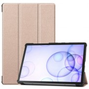 Tri-fold Stand Leather Case Smart Tablet Cover Shell for Samsung Galaxy Tab S6 T860 (Wi-Fi) / T865 (LTE) - Gold