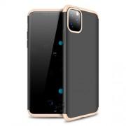 GKK 360 μοιρών Σκληρή Θήκη Ματ με Βελούδινη Υφή Πρόσοψης και Πλάτης για iPhone 11 Pro - Μαύρο / Χρυσαφί