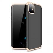 GKK 360 μοιρών Σκληρή Θήκη Ματ με Βελούδινη Υφή Πρόσοψης και Πλάτης για iPhone 11 - Μαύρο / Χρυσαφί