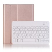 2 in 1 Bluetooth Keyboard with Stand Leather Tablet Casing for iPad 10.2 (2019) (A102B) - Rose Gold