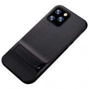 ELEGANCE Υβριδική Θήκη Σιλικόνης TPU (Πλάτη Διάφανη) σε Συνδυαμό με Πλαστικό και με Βάση Στήριξης για iPhone 11 Pro - Μαύρο