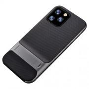 ELEGANCE Υβριδική Θήκη Σιλικόνης TPU (Πλάτη Διάφανη) σε Συνδυαμό με Πλαστικό και με Βάση Στήριξης για iPhone 11 Pro - Μαύρο / Ασημί