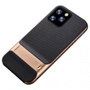 ELEGANCE Υβριδική Θήκη Σιλικόνης TPU (Πλάτη Διάφανη) σε Συνδυαμό με Πλαστικό και με Βάση Στήριξης για iPhone 11 Pro - Μαύρο / Χρυσαφί