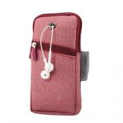 Universal Υφασμάτινη Θήκη Βραχίονα με Έξοδο για Ακουστικά, Μέγεθος 18 x 9.5cm - Κόκκινο