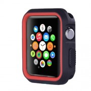 Dual-color Silicone Soft Watch Cover for Apple Watch Series 3/2/1 42mm - Black + Red