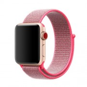 Nylon Velcro Closure Watch Band Replacement for Apple Watch Series 5 4 44mm / Series 3 2 1 42mm - Rose