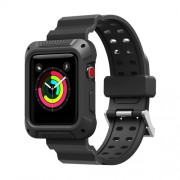 Soft Silicone Watch Strap + Watch Frame for Apple Watch Series 4 44mm - Black