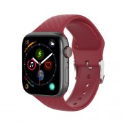 3D Diamond Texture Silicone Watch Strap for Apple Watch Series 5 4 44mm / Series 3 2 1 42mm - Red