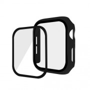 Rubberized PC + Tempered Glass Watch Case for Apple Watch Series 5/4 44mm - Black