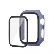 Rubberized PC + Tempered Glass Watch Case for Apple Watch Series 5/4 44mm - Blue