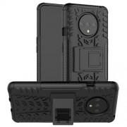 Anti-slip PC + TPU Hybrid Case with Kickstand for OnePlus 7T - Black