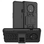 Υβριδική Θήκη Σιλικόνης TPU με Πλαστικό και με Βάση Στήριξης για OnePlus 7T - Μαύρο