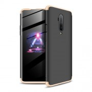 GKK 360 μοιρών Σκληρή Θήκη Ματ με Βελούδινη Υφή Πρόσοψης και Πλάτης για OnePlus 7T Pro - Μαύρο / Χρυσαφί