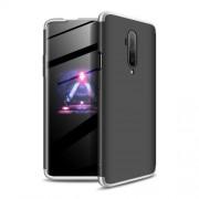 GKK 360 μοιρών Σκληρή Θήκη Ματ με Βελούδινη Υφή Πρόσοψης και Πλάτης για OnePlus 7T Pro - Μαύρο / Ασημί