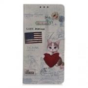 Δερμάτινη Θήκη Πορτοφόλι με Βάση Στήριξης για Nokia 1 Plus - Γατούλα με Καρδιά και Αμερικανική Σημαία
