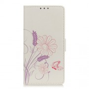 Pattern Printing Leather Wallet Phone Case for ZTE Blade V10 Vita - Flower