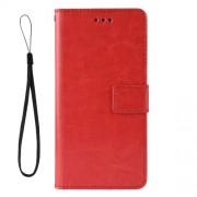 Δερμάτινη Θήκη Πορτοφόλι με Βάση Στήριξης για ZTE Blade V10 Vita - Κόκκινο