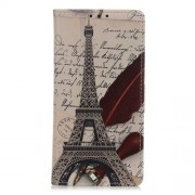Pattern Printing PU Leather Wallet Stand Phone Cover for Xiaomi Redmi Note 8T - Eiffel Tower and Letters