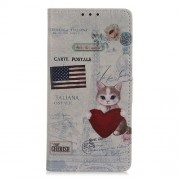 Pattern Printing PU Leather Wallet Stand Phone Cover for Xiaomi Redmi Note 8T - Cat Holding Heart