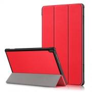 Δερμάτινη Θήκη Βιβλίο Tri-Fold με Βάση Στήριξης για Lenovo Tab M10 TB-X605F/TB-X505 - Κόκκινο