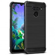 IMAK Vega Carbon Fiber Pattern Brushed TPU Shell Cover for LG Q60 - Black