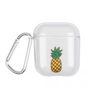 Transparent PC Case with Hook for Apple AirPods with Wireless Charging Case (2019) / AirPods with Charging Case (2019) (2016) - Pineapple