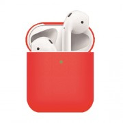 Matte Texture Silicone AirPods Case for Apple AirPods with Wireless Charging Case (2019) / AirPods with Charging Case (2019) (2016) - Red
