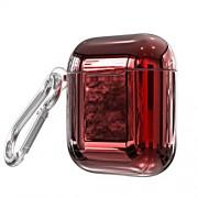 Θήκη Σιλικόνης Γυαλιστερή Electroplating για Apple AirPods - Κόκκινο