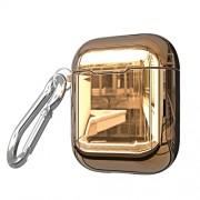 Θήκη Σιλικόνης Γυαλιστερή Electroplating για Apple AirPods - Χρυσαφί