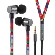 U25 Shoelace Style 3.5mm Plug Universal Mega Bass In-ear Earphone with Line-in Control - Flags
